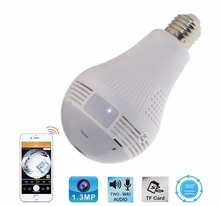 Smart LED Bulb Light Home Security Indoor 960P HD IP Wifi 360-Degree Fisheye Panoramic Camera