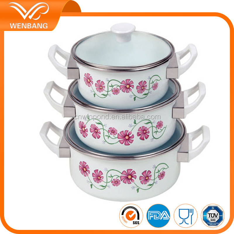 Korea popular enamel masterclass premium cookware set removable handles