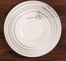 "Haonai 6""7""8""9""10"" white & round ceramic flat dinner plate with customized design for everyday dinning"