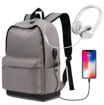 Smart canvas classic school backpack bags with USB for college student