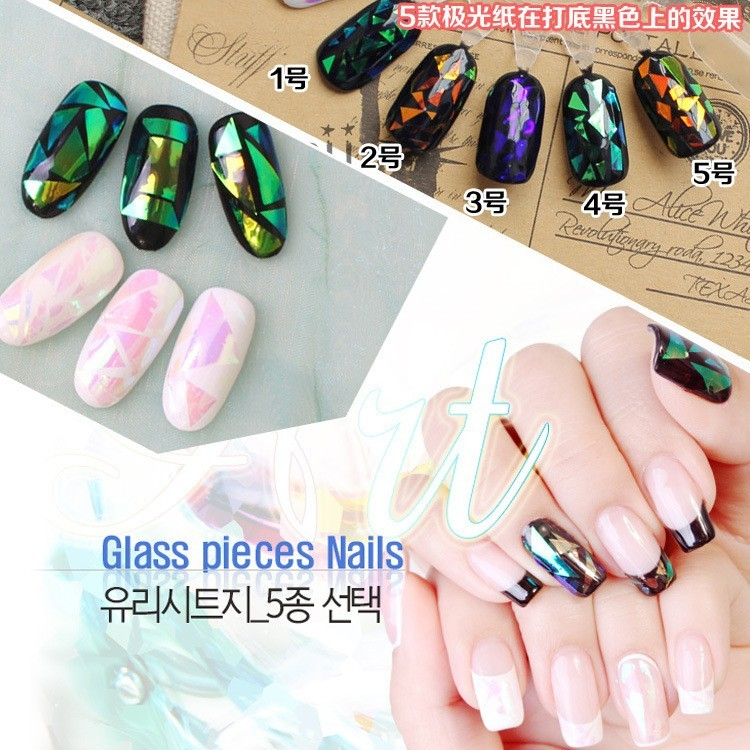 The New Aurora Nail Stickers Magic Irregular Glass Manicure Decal Fashion