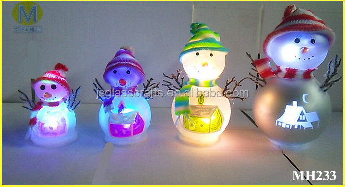 LED light christmas glass snowman with hats for decoration,4 sizes