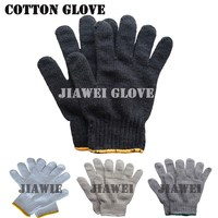 Black Poly Cotton Gloves Knitted Poly Cotton Gloves Black Hand Gloves/Guantes De Algodon 062