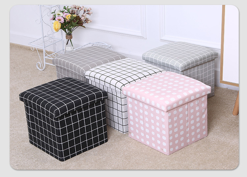 2019 New Fashion Style Grid  Non Woven Fabric Storage Ottoman Stool