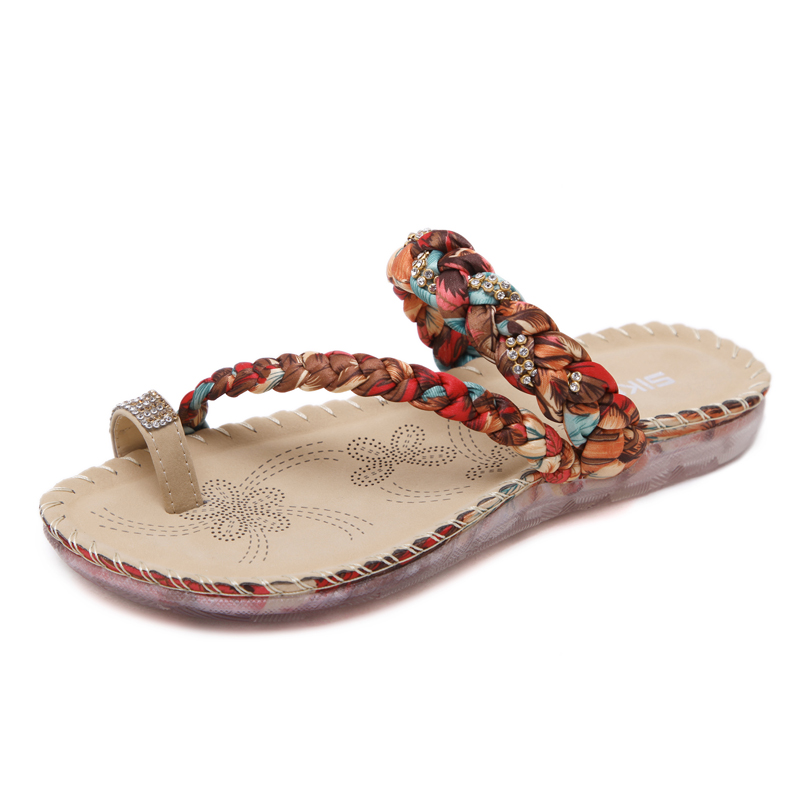 Summer ladies fancy flat sandals woven silk satin soft and comfortable sandals