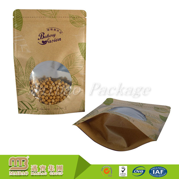 Strong Heat Sealed Moisture-proof Foil Lined Plastic Coated Food Kraft Paper Bag with Window and Zipper
