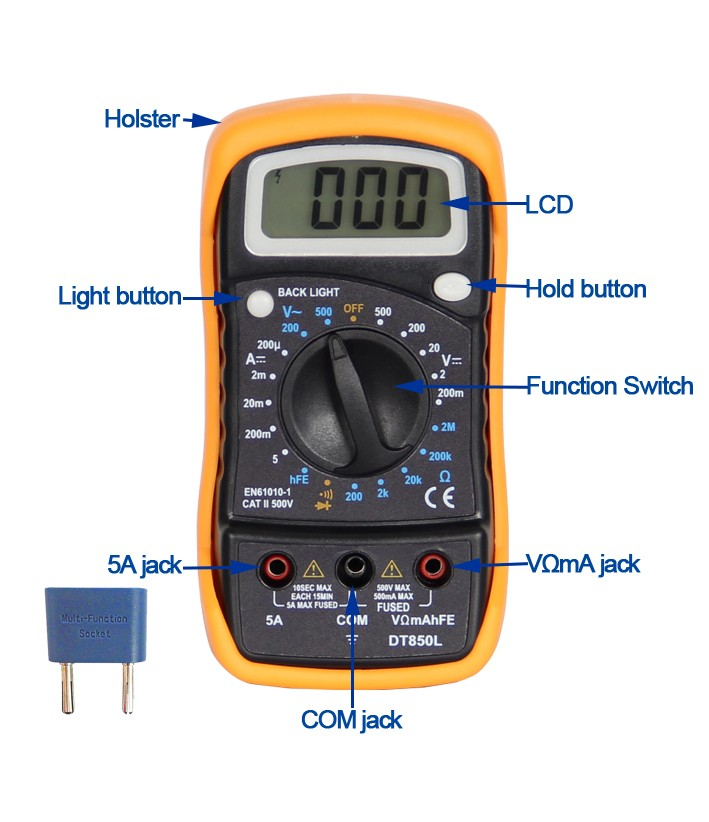 Digital Multimeter DT850L CE with backlight with GS