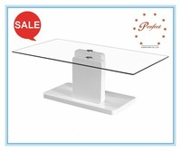 Fashion coffee table furniture glass coffee table with wood base