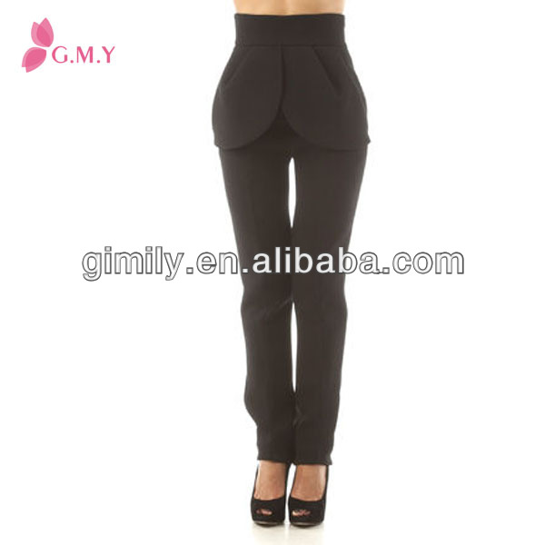 New design lady open crotch pants peplum elegant dress pant