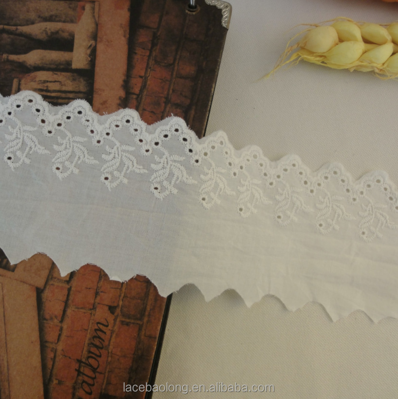factory tc cotton lace trim white embroidery fabric