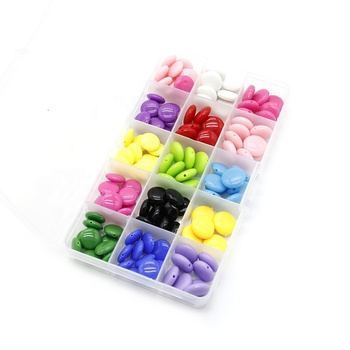 Bulk Flat Round Colorful Acrylic Decoration Beads With Hole 73213