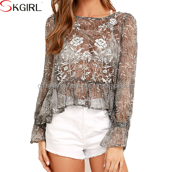 Ethnic Long sleeve floral embroidered loose ruffles transparent mesh blouse top for ladies casual wear