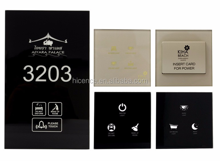 Electronic Hotel Smart Room Solutions including Room number doorbell DND MUR Light control