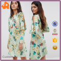 custom make fashionable split sleeve floral print lady dress