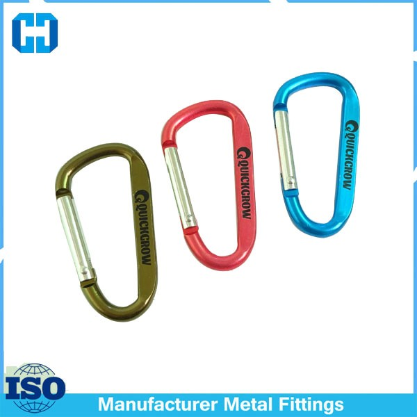 D Type Metal Material Carabiner Laser Logo From China