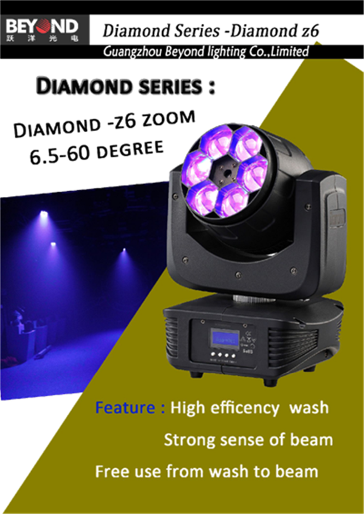 2 years warranty 6 x 4in1 15w zoom led moving head wash light with quiet fan and powercon in and out