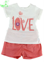 OEM clothing set girls t-shirt and casual shorts 2014 brand design children clothes set export garment low price