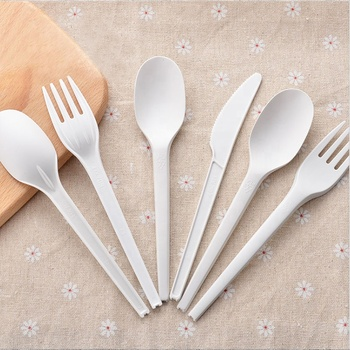 Eco Friendly compostable fork spoon knife pla disposable utensil cutlery set