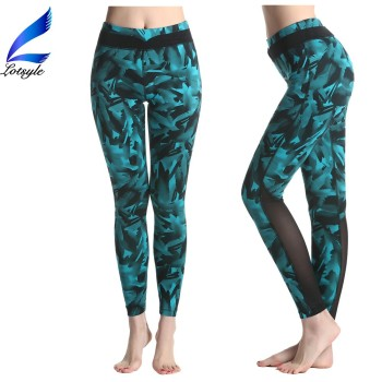 2016 Latest Yoga Pants with Mesh Design Stretch Tights