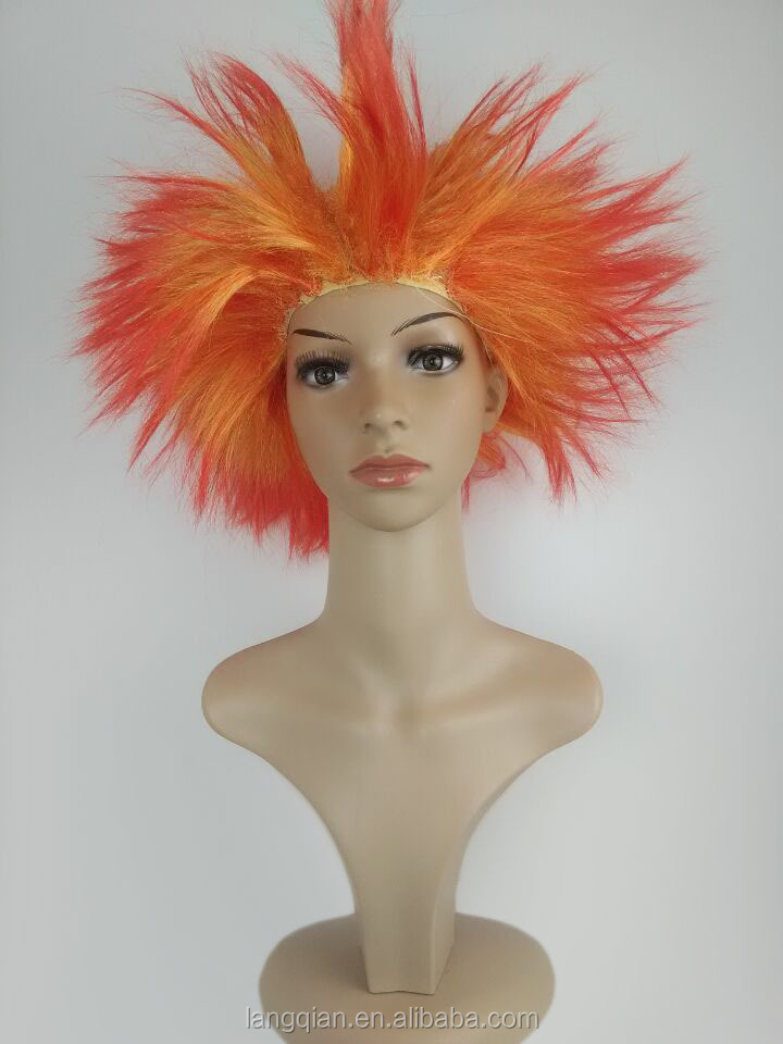 Discount wholesale silk straight orange grey Halloween carnival party explosion wig football world cup fans wig