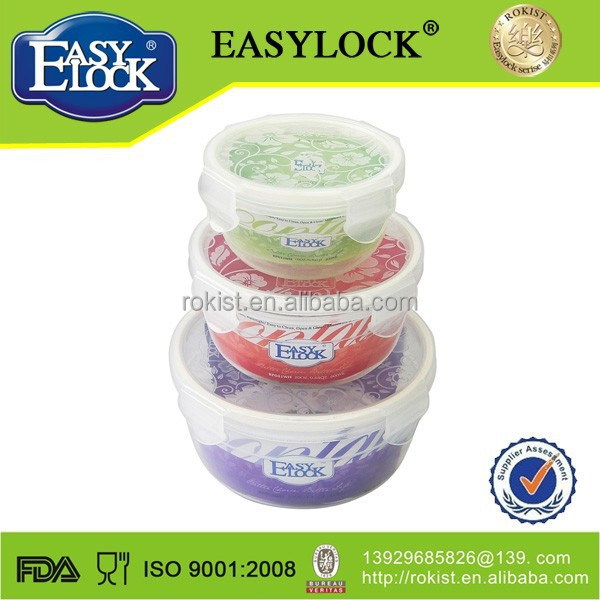 L Tableware clear round plastic container with lid