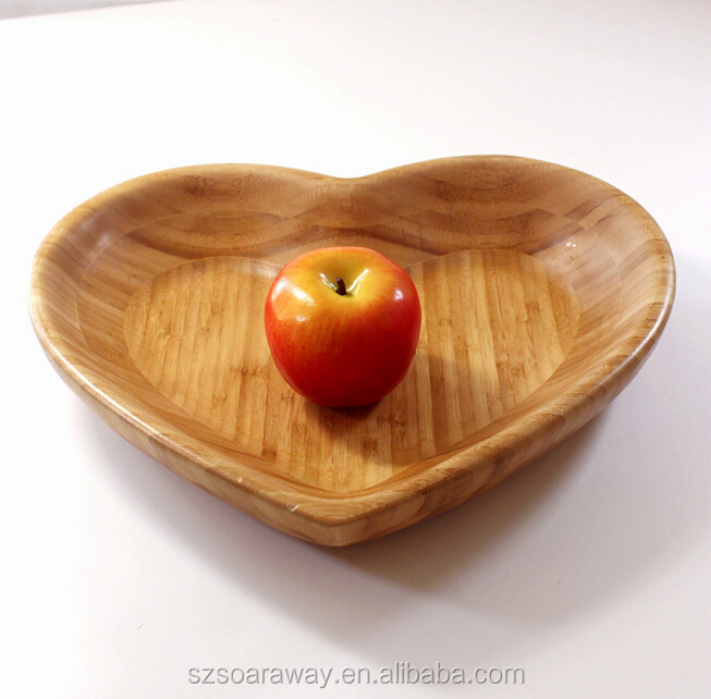 Bamboo heart shape fancy fruit storage packing tray