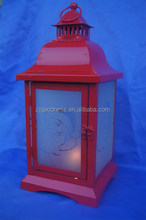 Red Metal Christmas Tea Light Lantern Xmas Decoration Candle
