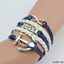 China Wholesale Fashion DIY Charm Infinity Leather Symbol Love Woven Bracelet for Women