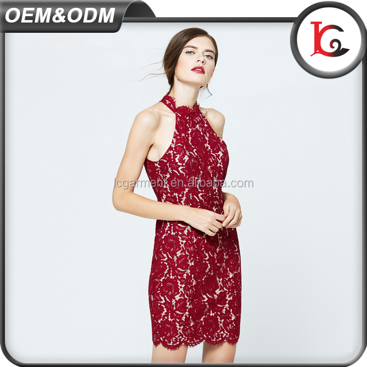 2017 new fashion back open sexy club dress women halter red lace dress summer ladies night sexy party dress