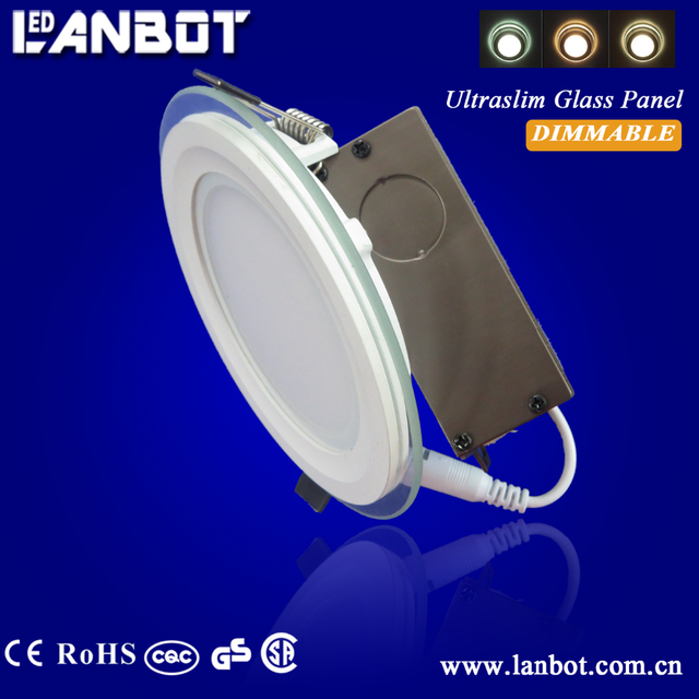 Slim design 6W LED Panel Light With Glass face plate Round Recessed mounting