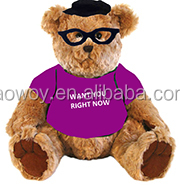 imprinted promotional logo black glasses Traditional Teddy Bear dress scarf stuffed bears