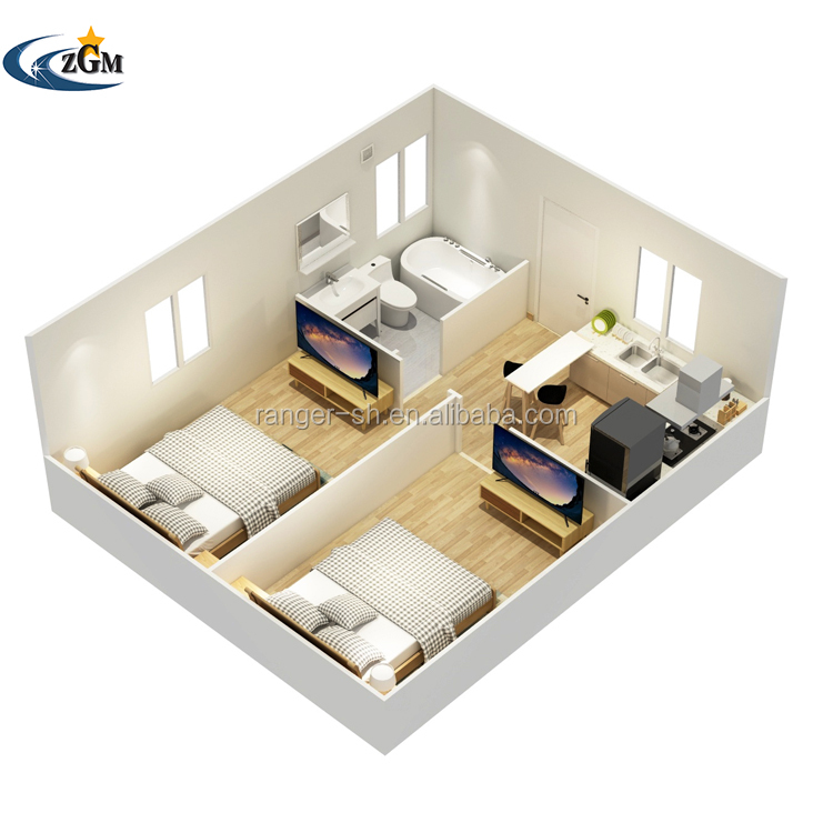 Low cost 2 bedroom prefab homes prefabricated homes sandwich panel prefab house container