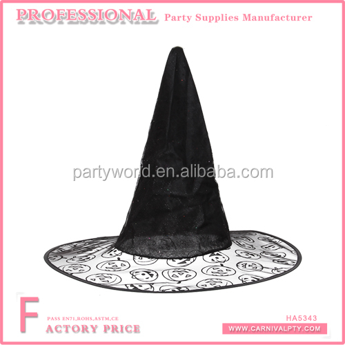 Wholesale witch hat and broom wall decal witch hats beads bow halloween decorated