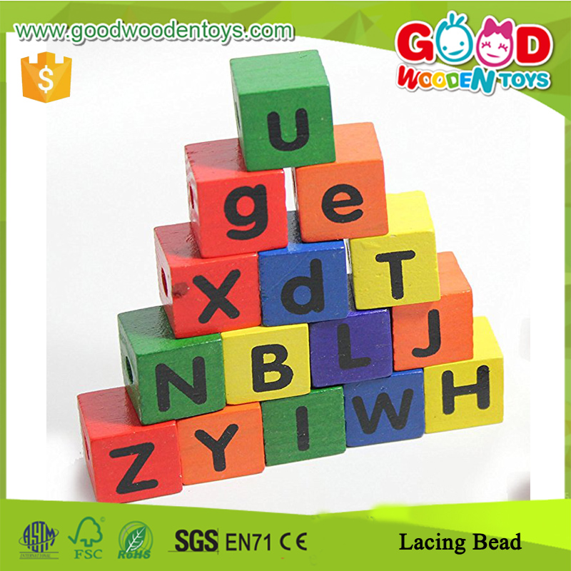 6 Vivid Colors Capital Letter Lacing Beads, 104 Wonderful Wood Lower Case Letter Lacing Beads
