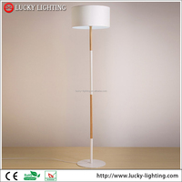 Simple plain white cylindrical fabric Wood floor lamp