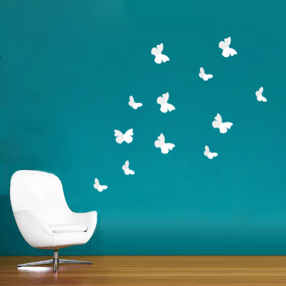 Walplus 12pcs 3D White Butterfly Wall Stickers Butterflies Home Improvement Deco