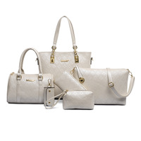 Hot sale pu leather french ladies handbags 5 pcs set women bag for work made in china