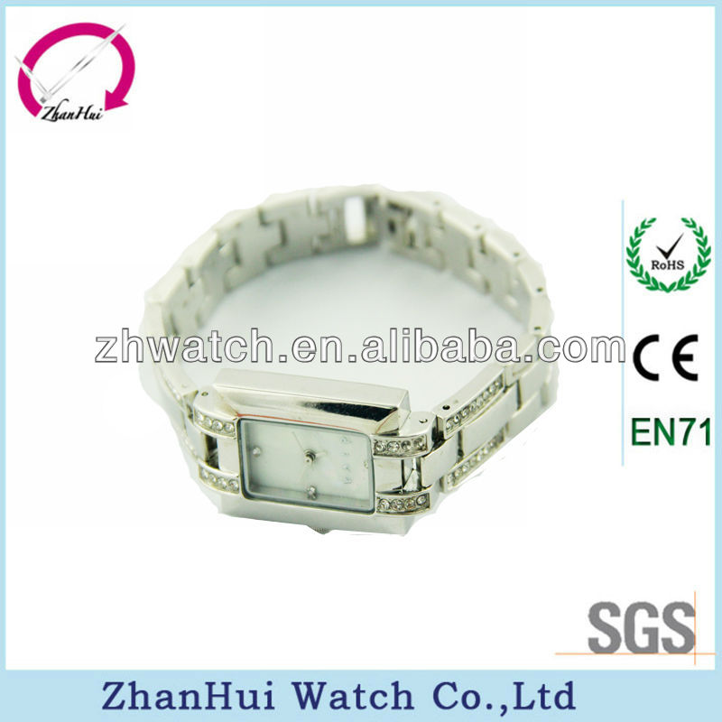 Hottest stylish rectangular diamond face japan movt bangle stainless steel strap quartz CE/ROHS ladies watches 2013