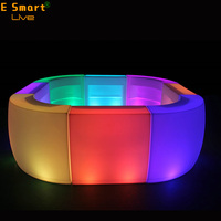 Waterproof Outdoor illuminated patio furniture latest acrylic lighted bar counter Plastic Circle Curved Led Bar Counter