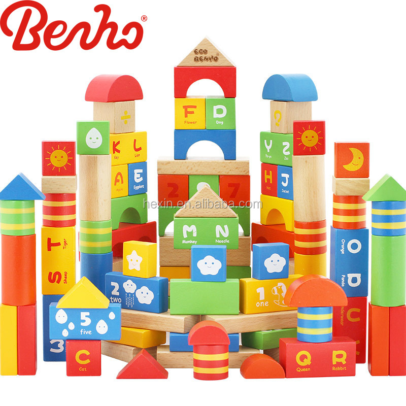 100pcs blocks Wooden Building Baby Toys