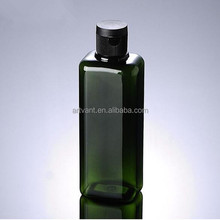 Wholesale 200ML Square Green Frosted Plastic Pet Bottle With Black Flip Top Cap