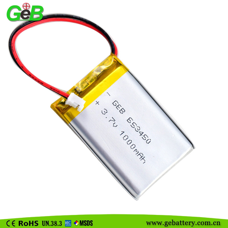 GEB653450 3.7v 1000mah rechargeable lithium lipo battery