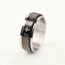 wholesale Black plated spanish bible scripture engraved spinner men's stainless steel ring