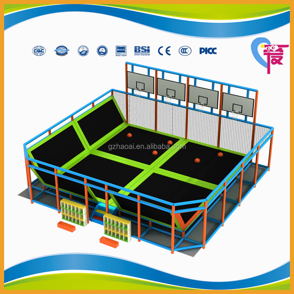 A-15253 Exciting Kids Wholesale Trampoline Park Bungee Trampoline With Basketabll Stand