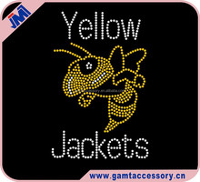 Yellow Jackets Custom Rhinestone Transfer For T-Shirt Wholesale