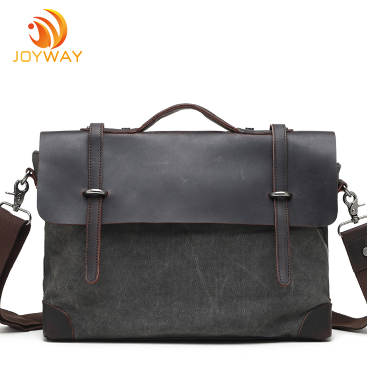 14 inch Vintage Crazy Horse Briefcase Genuine Leather Laptop Bag For Men
