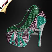 Green and pink transfer high heels cheap rhinestone flower heels
