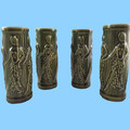 Hawaii Hula Girls Tiki Mugs Polynesian Green Set of 4