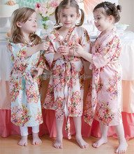 Little Girl Satin Robe Kimono Crossover Mommy Baby Collection Wholesale Kids Spa Robes