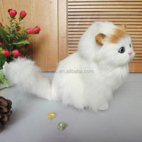 Nice white color lifelike looking cute plush animal cats real kitten toy